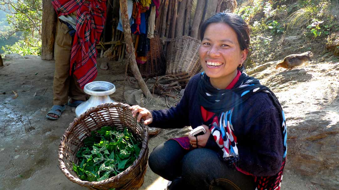 Bishnu Maya Chepang squats next to a basket of stinging nettles.