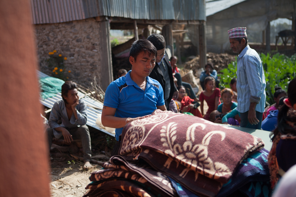blankets for distribution in Nepal