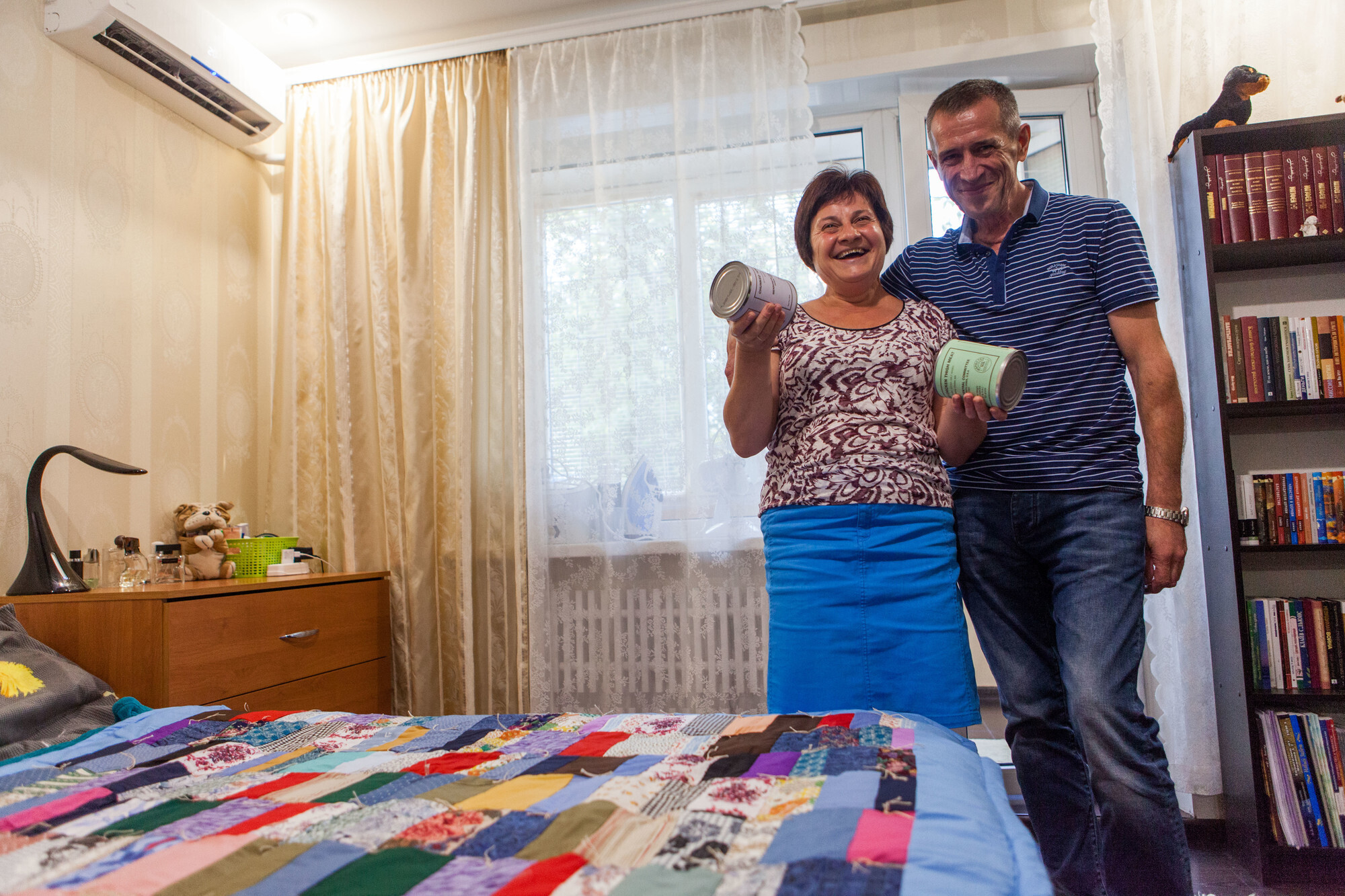 Igor Semyonov and his wife Larisa received MCC canned meat and comforters after fleeing conflict in eastern Ukraine. Thanks to your support, they were given food and shelter when they had none.  (MCC photo/Matthew Sawatzky)