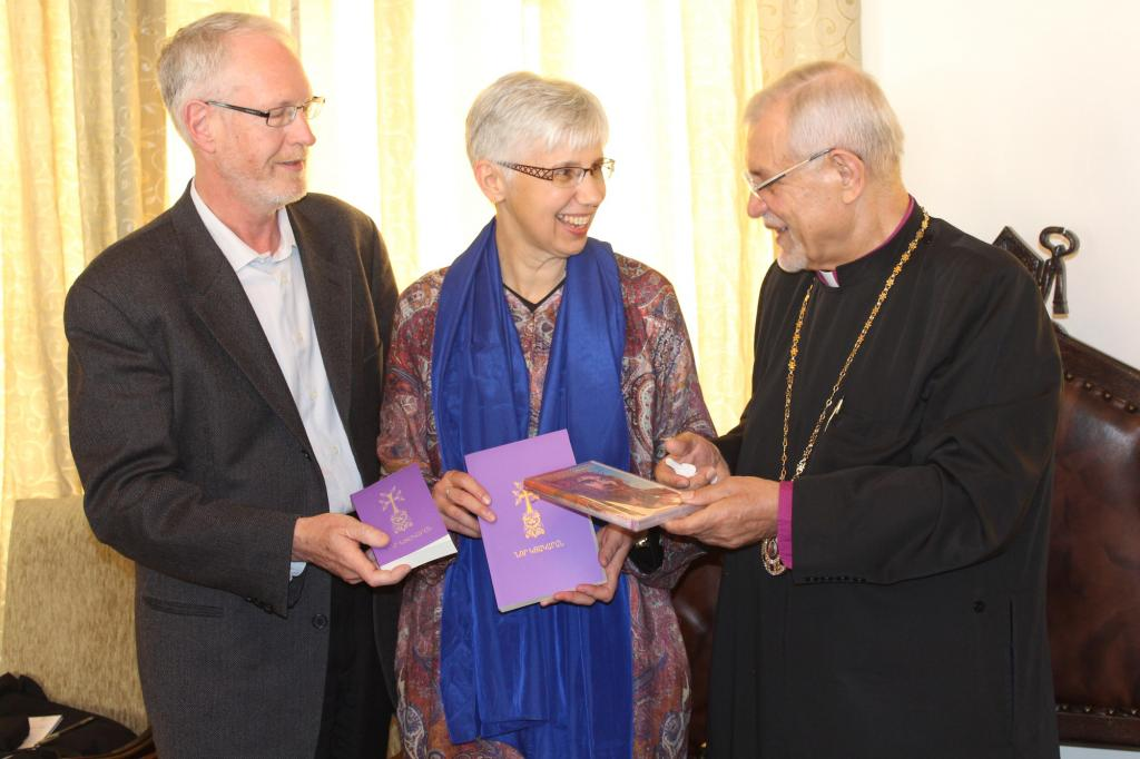 """<span class=""""photo-caption"""">Gordon Epp-Fransen, left, and Carolyne Epp-Fransen, centre, are MCC representatives for Iran, Iraq and Jordan. They're with Archbishop Sebouh Sarkissian at the Armenian Orthodox Prelacy offices, in Tehran, Iran.</span><span class=""""photo-credit"""">Photo by Harry Huebner, CMU</span>"""