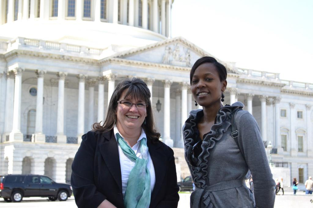 """<span class=""""photo-caption"""">Beth Good (left) is Health Coordinator for MCCand Patricia Kisare (right) is a legislative associate in MCC's Washington Office. They're visiting Capitol Hill to speak with congressional offices about funding for global HIV/AIDS programs.</span><span class=""""photo-credit"""">MCCPhoto by Jesse Epp-Fransen</span>"""