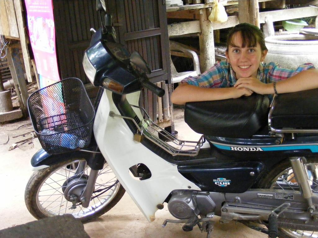 """<span class=""""photo-caption"""">Originally from Riverview, New Brunswick, living and working in Cambodia meant many changes to Rebecca's day-to-day life -including her mode of transport!</span><span class=""""photo-credit"""">MCC Photo/Rebecca Standen</span>"""
