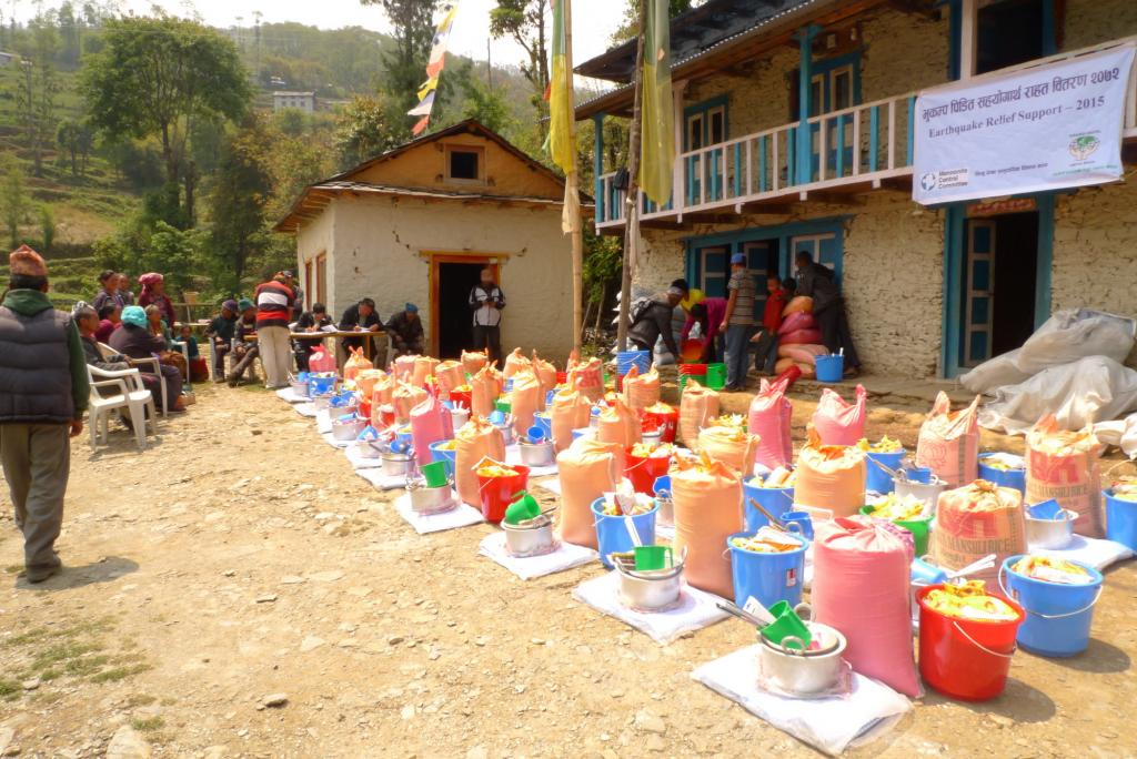 "<span class=""photo-caption""><span>Relief supplies ready for distribution in the Okhaldhunga District.</span></span><span class=""photo-credit"">MCC Photo/Durga Sunchiuri</span>"
