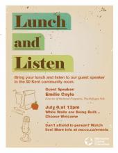 Poster for lunch and listen event.