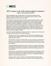 A PDF of MCC's response to the Truth and Reconciliation Commission