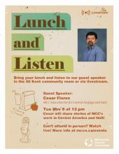 Stories from Central America and Haiti: A Lunch & Listen event poster
