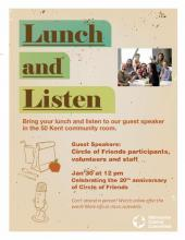 Poster for Circle of Friends lunch and listen
