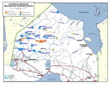 Map of First Nations Affected by Mennonite Run Residential Schools