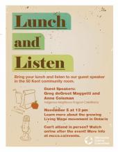 Living Wage Lunch and Listen downloadable poster