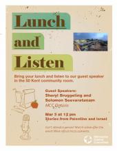 Downloadable poster for Stories from Palestine and Israel: A lunch and listen event