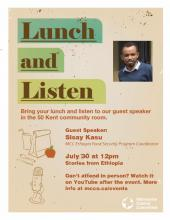 Poster for Stories from Ethiopia: A Lunch and Listen Event