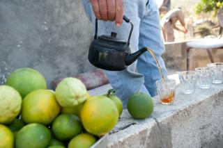 Palestinian farmer Khalil Mohammed Yousef pours tea and offers oranges, clementines, and guavas to guests visiting a well pump house near Jayyous in the occupied Palestinian territories.