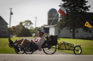 Former MCC Central States Executive Director John Stoesz is advocating for Dakota land justice as he rides his recumbent trike 2,000 miles across southern Minnesota during September and October.