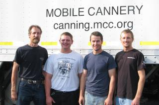 Gerald Heimpel, Toby Penner, Andrew Keeler and Stanley Toews will work on the MCC Mobile Meat Canner this year, starting Oct. 8.