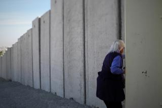 A section of the separation wall that divides Jerusalem from the West Bank.