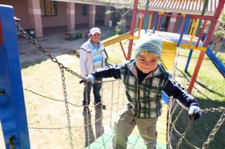 Oscar Yoadel, 4, plays at Guarderia Samuelito, his daycare in Santa Cruz, Bolivia run by the Bolivian Evangelical Mennonite Church, an MCC partner. His father, Oscar Pinto, is a single dad who would not be able to work full-time without the daycare.