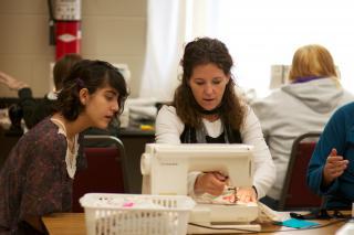 Grade 10 student, Katelyn Siemens (left), and her home economics teacher, Marla Laskowski, in the Waldheim School.