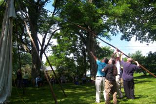 Putting up the Teepe at the Peace and Friendship gathering