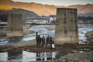 photo of destroyed bridge in DPRK (North Korea)