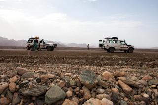 The convoy travels through the Ethiopian desert
