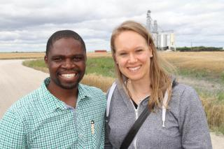MCC disaster response coordinator Vurayayi Pugeni with Cindy Klassen at the Grow Hope farm