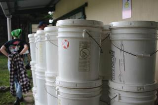 Stack of relief buckets