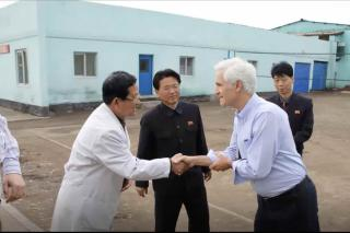 Chris Rice Shakes hands with Hospital staff in North Korea