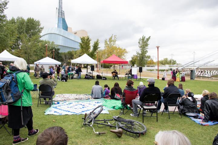 Gathering of people at We Are All Treaty People celebration