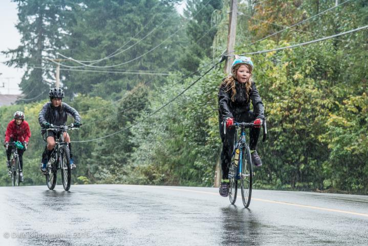 10-year-old Elizabeth Wiens' (front) rode in the Pedaling for Hope Cyclathon in Abbotsford, B.C., raising more than a million dollars for Syrian Refugees.