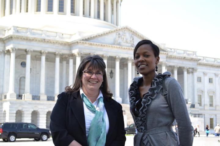 Beth Good (left) is Health Coordinator for MCCand Patricia Kisare (right) is a legislative associate in MCC's Washington Office. They're visiting Capitol Hill to speak with congressional offices about funding for global HIV/AIDS programs.