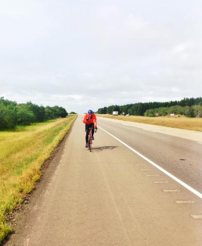 Ron covered over 110 km on the first day of Thrift Shop Re-Cycle 2014.