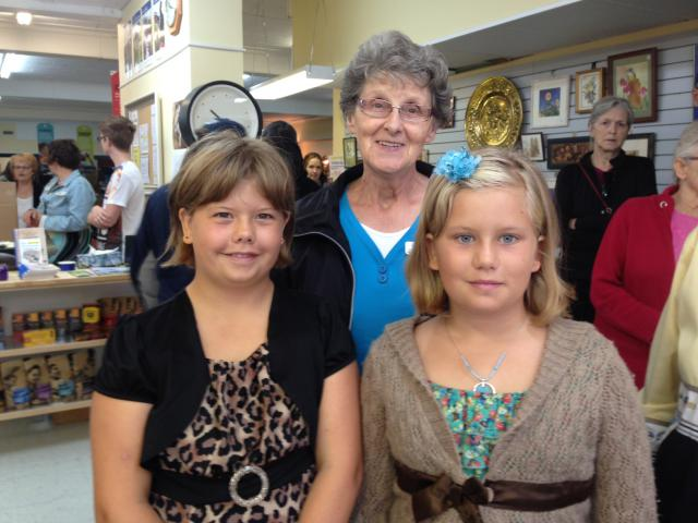 Kaylin and Sierra Hemingway (8 and 10) have been helping volunteers sew and knitat the MCC Thrift Shop in Portage this summer and were at the shop for Ron's arrival.