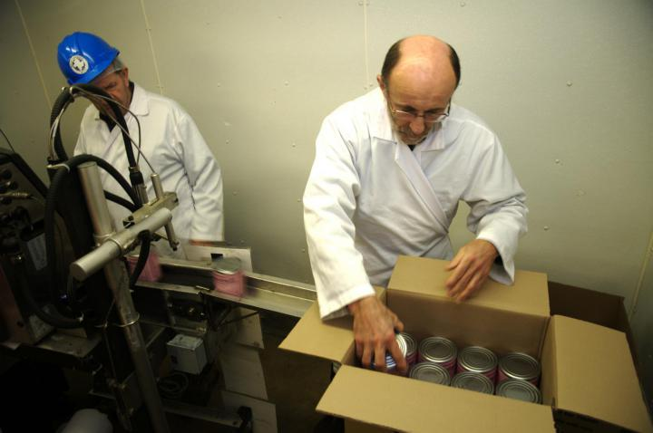 Step 9: The labelled cans go through a printer which applies the production and expiration dates, before they are placed in boxes with 24 cans in each one.