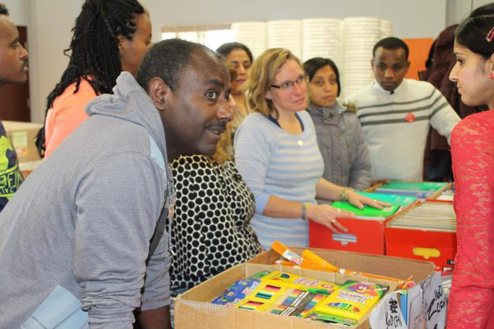 Students from the Centre for Newcomers visit to packSchool Kits with Linda.