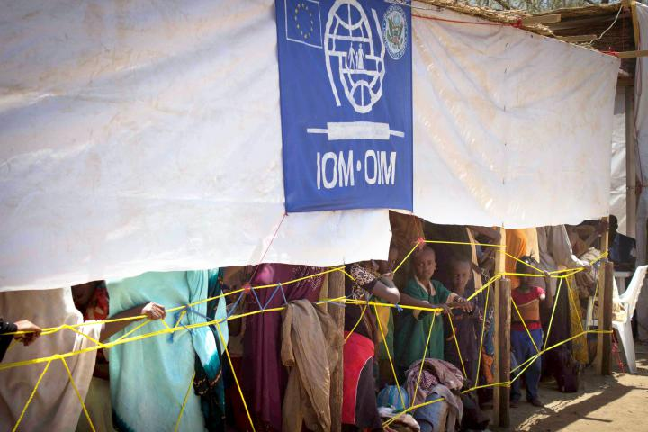 Refugees from the Central African Republic wait to register at the International Organization for Migration in Moundou, Chad, where there's a transitional camp.MCC is providing food and mosquito nettings for children, unaccompanied sick people,and the elderly.