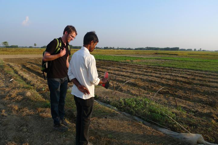 MCC has been an active presence in Nepal for many years--since the 1950s. We work through local partners to provide education, shelter, safe drinking water and address food security and health concerns. Here Manoj Kumar Singh (right), an Agriculture Technician, describes agricultural training methods to Luke Reesor-Keller, MCC co-representative in Nepal, at the site of an MCC-supported food security project in southeastern Nepal, run by the Brethren in Community Welfare Society.
