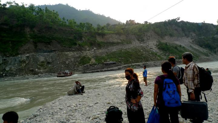 Leaving Okhaldhunga, and getting ready to cross on the pontoon ferry.
