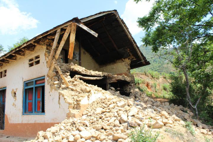 Anita Lama's house after the earthquake.