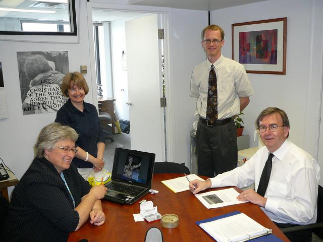 In 2009 Paul Heidebrecht (2nd from R) became director of the Ottawa Office. He is shown here with other MCC Canada staff:  Lois Coleman Neufeld (director of National Programs), Monica Scheifele (Ottawa Office assistant) and Don Peters (executive director).