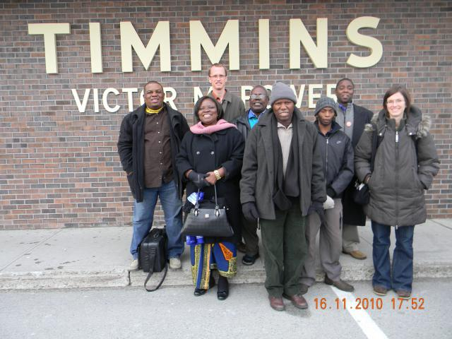 In 2010 as part of the Mining Justice campaign, Ottawa Office staff Paul Heidebrecht (3<sup>rd</sup> from L) and Jenn Wiebe (far R), accompanied a delegation of guests including Rose Lala Biasima, Hubert Mukulasi Lubyama, Raymond Motsi, Dumisani Nkomo, and Rev. Godfrey Tahona Walalaze from Africa to Timmins to learn about Indigenous communities and their relationship with the mining industry.