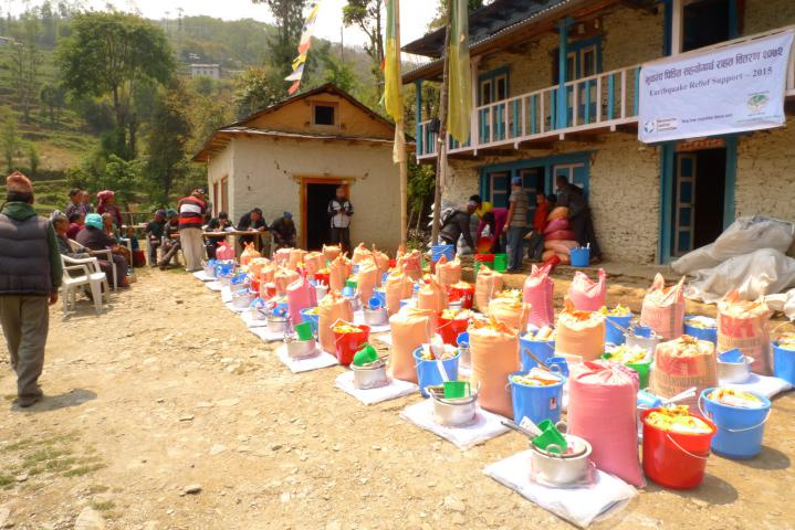 <span>Relief supplies ready for distribution in the Okhaldhunga District.</span>