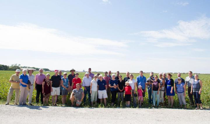 Grow Hope partners take in the soybean cropat the Harvest Celebration.