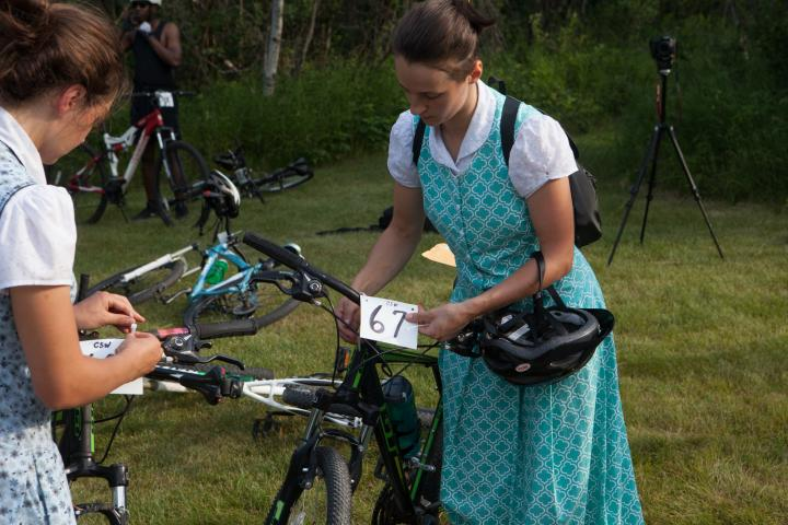 Jodie Maendel prepares for the ride.