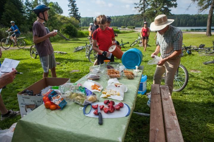 Riders enjoying some refreshments at one of the checkpoints along the trail.