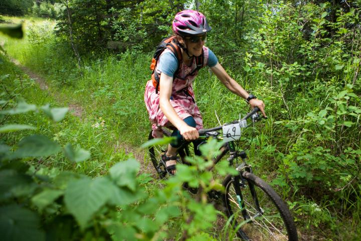 Jennifer Waldner zips along the trail.