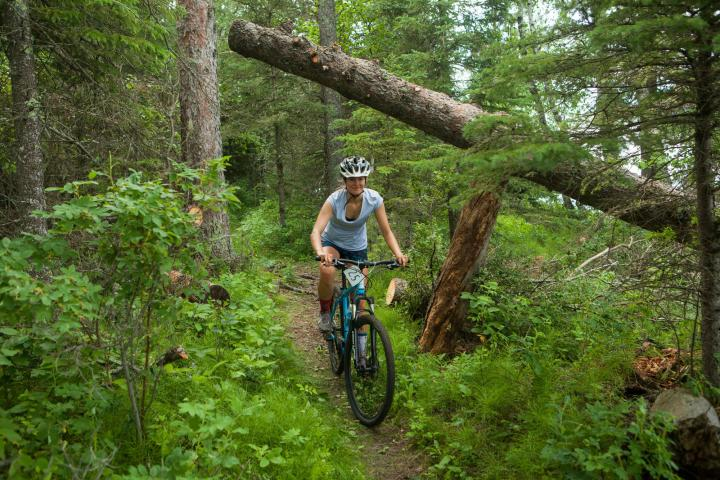 Kayly Letkeman zips along the trail.
