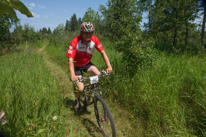 Wilbert Warkentin makes his way down the trail.