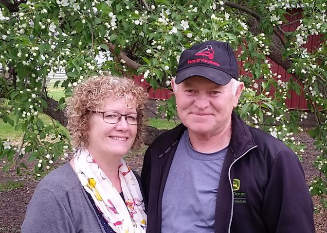 Audrey and Bernie Brandt of Tiny Creek Farms, a mixed farm near Blumenort.The Brandts are contributing corn in their second yearas Grow Hope farmers.