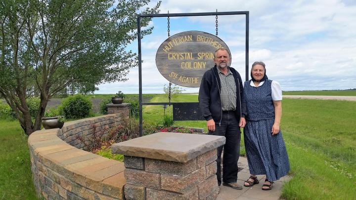 Jerry and Linda Waldner of Crystal Spring Hutterite Colony. Crystal Spring is contributing wheat in their second year as a Grow Hope farmer.