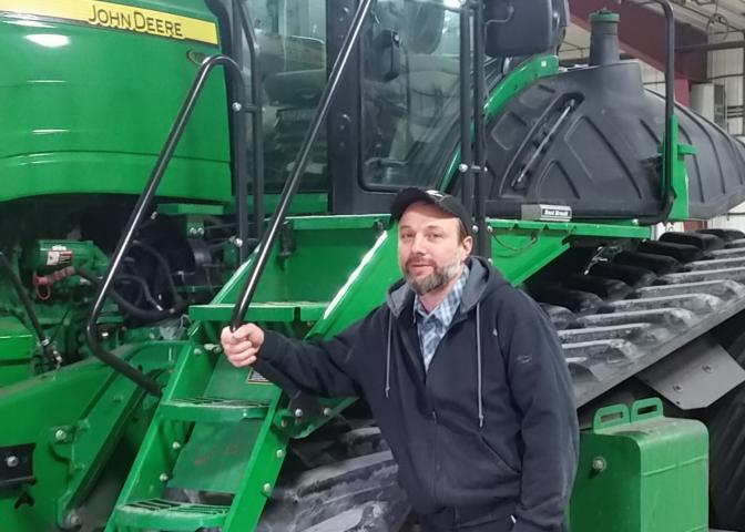 Edward Wolman, farm manager of Silverwinds Hutterite Colony near Sperling. Silverwinds Colony joined Grow Hope as a farmer this season and is contributing wheat.